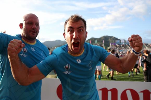 Los Teros y un triunfo histórico frente a Fiji en el debut en la Copa del Mundo 2019. Foto: AFP.