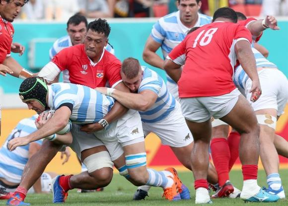 Argentina le ganó a Tonga y sumó su primera victoria en Japón 2019. Foto: EFE.