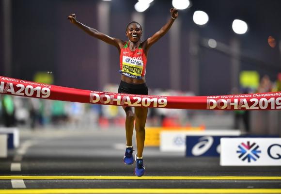 La keniata Ruth Chepngetich en el Mundial de Atletismo