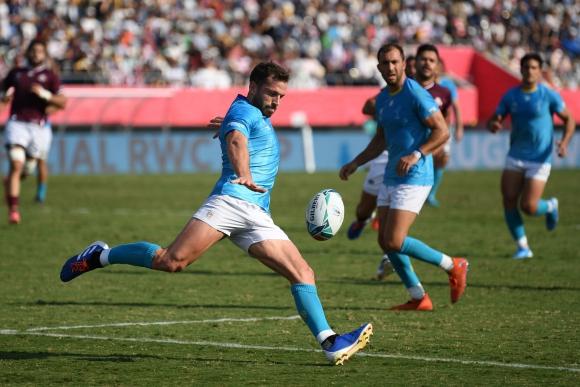 Felipe Berchesi se convirtió en el máximo anotador histórico de Los Teros en Mundiales. Foto: AFP.
