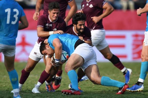 Facundo Gattas en el duelo entre Los Teros y Georgia en el Mundial de Rugby. Foto: AFP