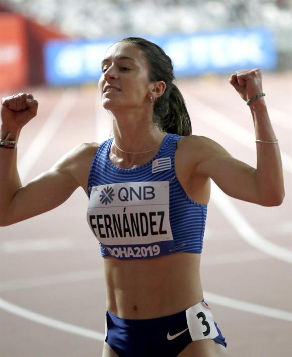 María Pía Fernández en el Mundial de Catar tras los 1.500 metros. Foto: EFE.
