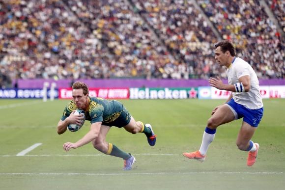 El try de Dane Haylett-Petty para que Australia abriera el marcador. Foto: AFP.