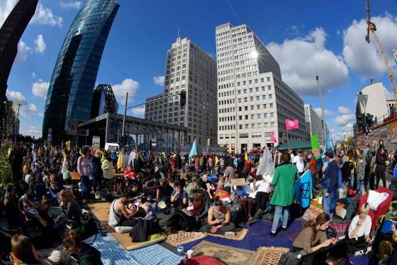 Protestas en Berlín por cambio climático. Foto: AFP