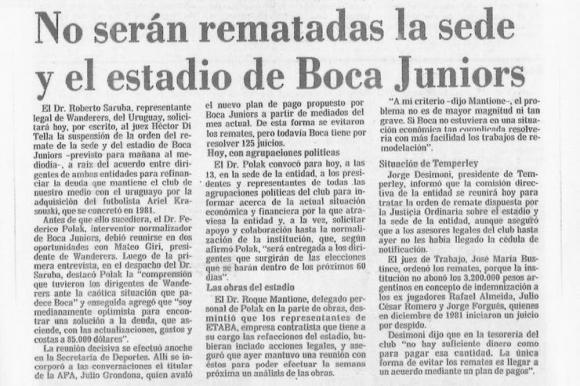 Alivio boquense: la nota de La Nación del 5 de diciembre de 1984, que anuncia que la Bombonera no será rematada. Foto: Archivo La Nación