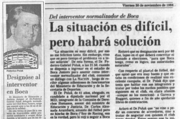 Portada y nota de La Nación del 30 de noviembre de 1984, anunciando la asunción de Federico Polak como interventor de Boca. Foto: Archivo La Nación