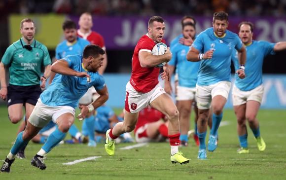 Uruguay y Gales se enfrentaron en Kumamoto por el Mundial de rugby. Foto: AFP.