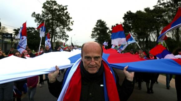 Daniel Martínez durante un acto político en Canelones. Foto: Mateo Vázquez