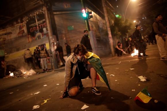 Protestas en Bolivia para acusar de intento de fraude electoral. Foto: Reuters