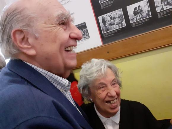 Julio María Sanguinetti se encontró con su maestra. Foto: Agustín Magallanes