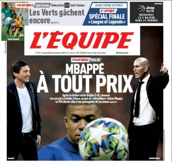 La portada de L'Equipe reconoce que PSG está preocupado
