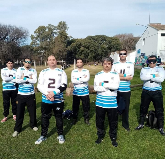 Equipo masculino de Goalball Uruguayo. Foto: Cortesía