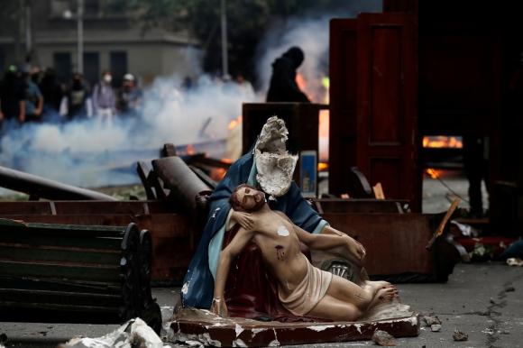 Manifestaciones en Santiago de Chile, este viernes. Foto: Reuters