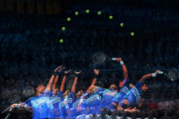 El saque de Novak Djokovic en el ATP Finals de Londres 2019