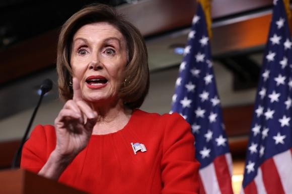 Nancy Pelosi, este jueves en rueda de prensa. Foto: AFP