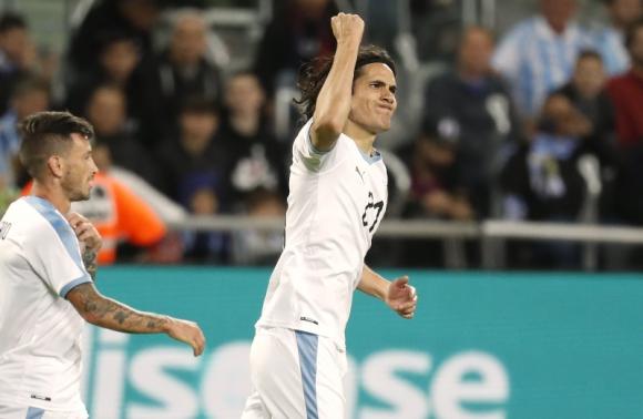 Edinson Cavani llegó a los 50 goles con la selección absoluta de Uruguay. Foto: AFP.