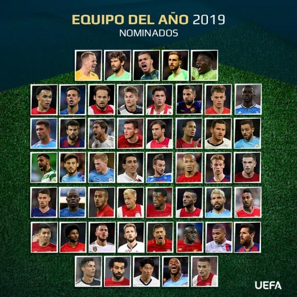 La UEFA dio a conocer la lista de 50 candidatos para el once ideal