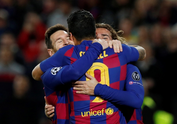 Lionel Messi, Luis Suárez y Antoine Griezmann en Barcelona