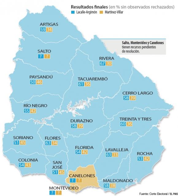 Resultados de la Corte Electoral. Foto: Corte Electoral/El País