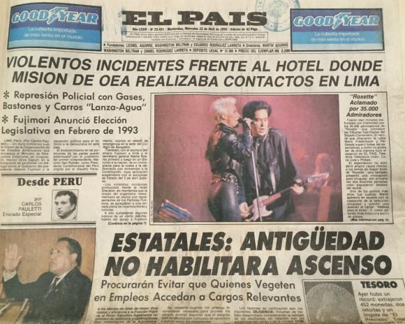 Roxette en la tapa de El País, abril de 1992. Foto: Archivo El País.
