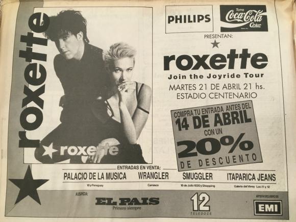 Anuncio del show de Roxette en el Estadio Centenario, 1992. Foto: Archivo El País.
