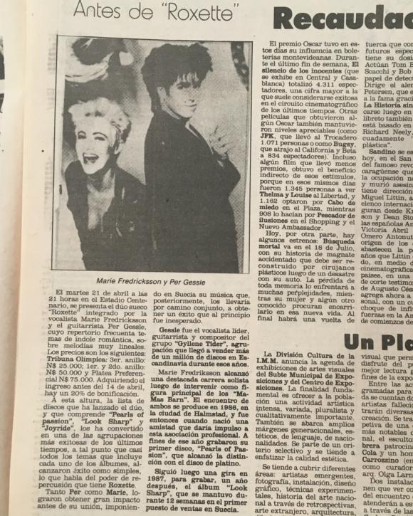Conferencia de prensa de Roxette. Foto: Archivo El País.