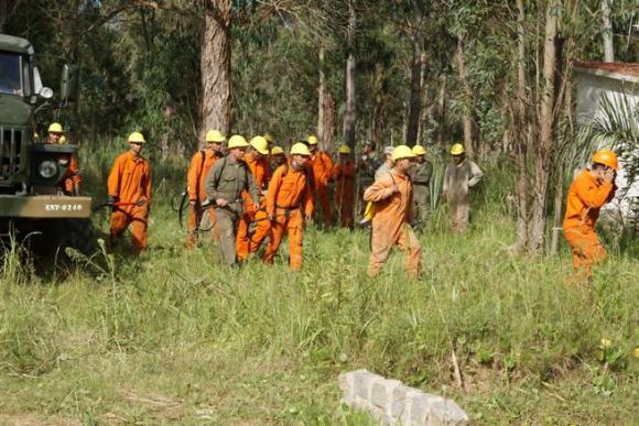 Personal en la entrada a Punta del Diablo que trabaja en el incendio en La Esmeralda. Foto: Ricardo Figueredo.