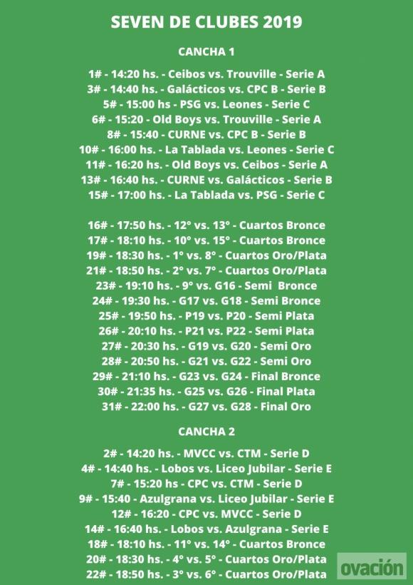 El calendario del Seven de Clubes 2019.