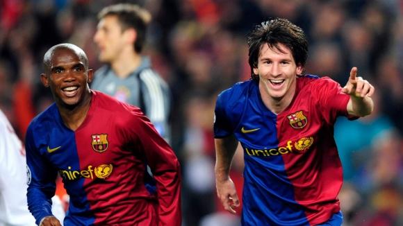 Samuel Eto'o y Lionel Messi en Barcelona. Foto: AFP