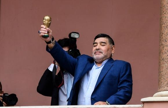 Diego Maradona este jueves en la Casa Rosada. Foto: AFP