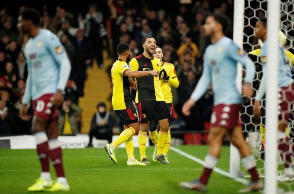 Deeney en la victoria del Watford ante Aston Villa. Foto: Reuters.