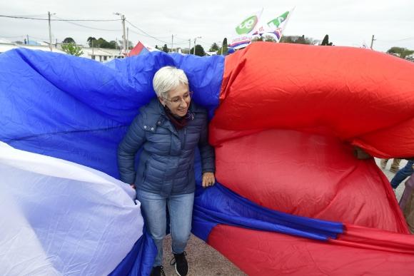 Graciela Villar en campaña electoral. Foto: El País