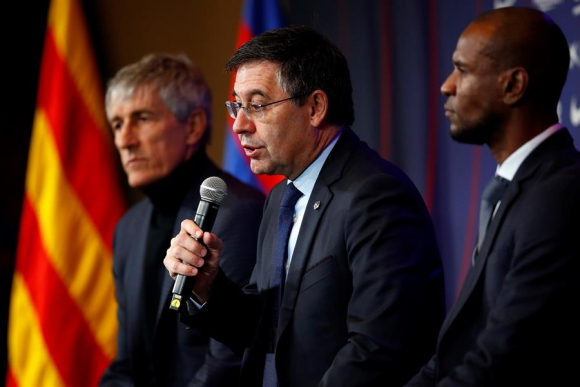 Quique Setién en la presentación como nuevo entrenador del Barcelona. Foto: EFE.