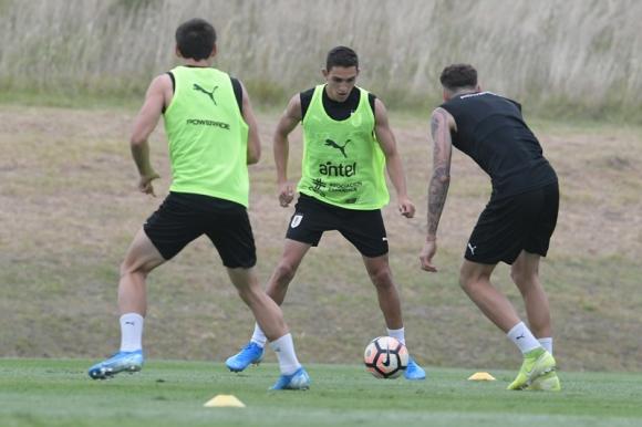 Juan Manuel Sanabria en el último entrenamiento de la sub 23 de Uruguay. Foto: Gerardo Pérez.