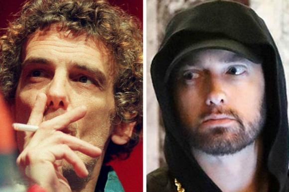 Luis Alberto Spinetta y Eminem. Foto: La Nación / GDA.