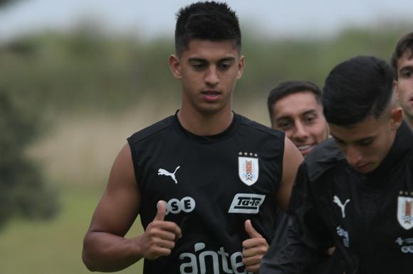 Mathías Laborda en el entrenamiento con la selección Sub 23. Foto: Gerardo Pérez.