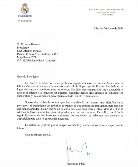 Carta del Real Madrid a Peñarol.