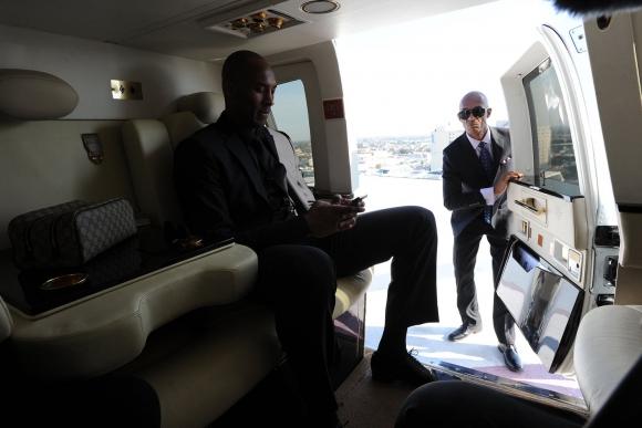 Kobe Bryant dentro de su helicóptero rumbo a su partido despedida en 2016. Foto: The Players Tribune