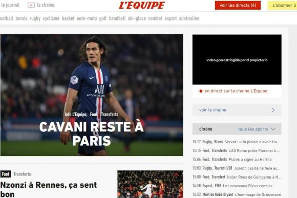 L'Equipe confirmó que Cavani no se va del PSG