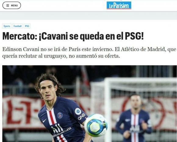 Le Parisien también apoyó la información de que no hay salida para Cavani