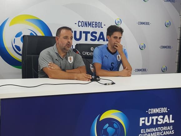 Diego D'Alessandro y Agustín Sosa en conferencia de prensa. Foto: Pasión Futsal
