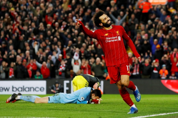 La alegría de Mohamed Salah tras uno de sus goles en el Liverpool-Southampton. Foto: Reuters.