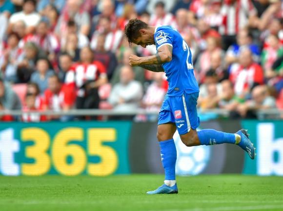 Damián Suárez celebrando su fantástico gol para el triunfo del Getafe