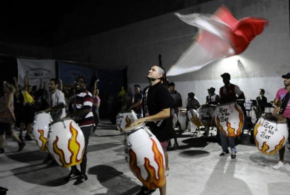 Tronar de Tambores en un ensayo para el carnaval 2020. Foto: Darwin Borrelli