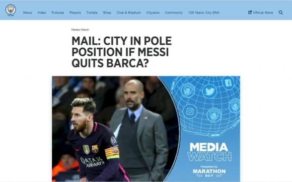 El Manchester City habla de Messi en su páginas oficiales