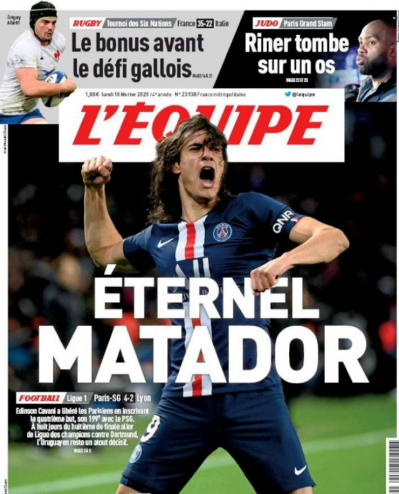 """L'Equipe y su portada en el que resalta la vigencia del """"Matador"""" Cavani"""