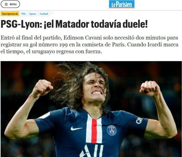 Le Parisien también elogió el regreso de Cavani a la cancha