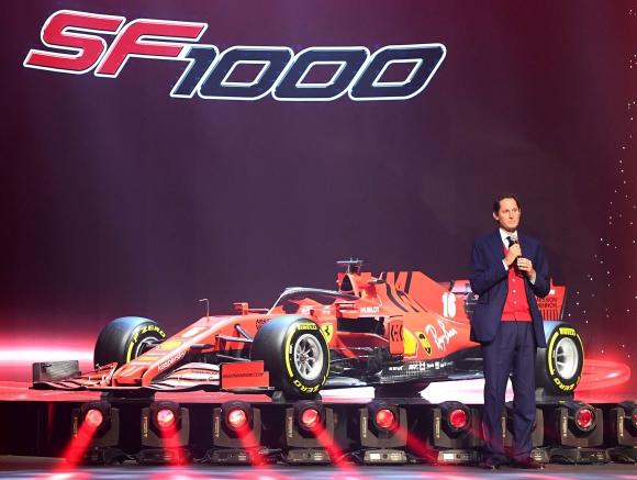 Presentación del vehículo de fórmula uno SF1000 de Ferrari. Foto: AFP