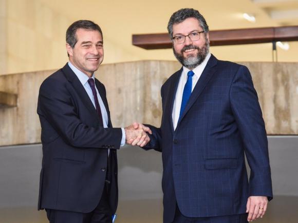 Ernesto Talvi se reunió con el canciller de Brasil, Ernesto Araújo. Foto: @ernesto_talvi