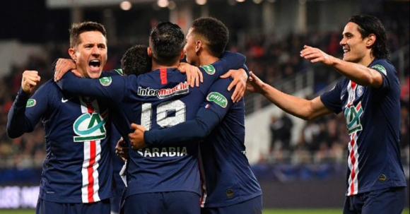 Jugadores del PSG celebrando un gol